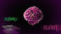 red 3d brain wave scanning screen - stock footage