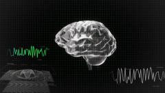 white 3d brain wave scanning screen - stock footage