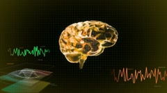 Gold 3d brain wave screen Stock Footage