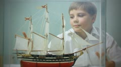 boy and toy ship  003 - stock footage