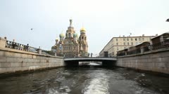 Walking on a boat in St. Petersburg Stock Footage