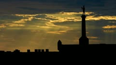 Serbia Pobednik panoramic sunbeams Stock Footage