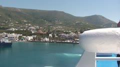 Travel by ship (10) - Approaching port of Paros island Stock Footage