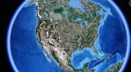 Touch globe map on ipad,enlarged to Washington city of American United States. Stock Footage