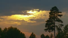 Sun shining through clouds over forest Stock Footage