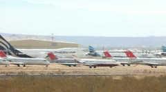 JETS IN STORAGE IN THE DESERT Stock Footage
