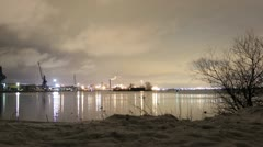 Port timelapse with snow 1080 Stock Footage