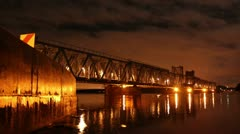 Railroad bridge timelapse at night 1080 - stock footage