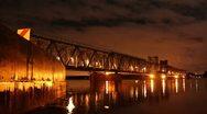 Stock Video Footage of Railroad bridge timelapse at night 1080