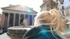 Woman standing at Pantheon fountain in Rome. Stock Footage