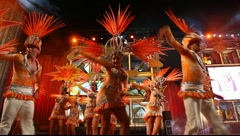 Carnival time! Carnival group with costumes during the Gran Gala of the festival Stock Footage