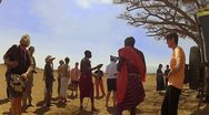 Stock Video Footage of Maasai Chief visits with outsiders