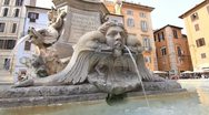 Fountain in front of Pantheon temple in Rome Stock Footage