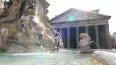 Pantheon fountain at piazza della rotonda in Rome - stock footage