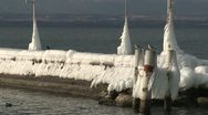 Stock Video Footage of Extreme Ice On Shore Of Lake Geneva