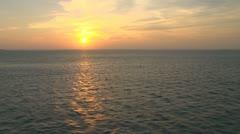 Aerial Ocean Island Sunset Stock Footage