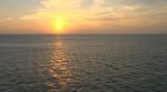 Stock Video Footage of Aerial Ocean Island Sunset