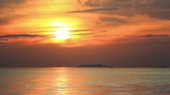 Beautiful sunset over Marmara Sea. Static Telephoto Shot Stock Footage