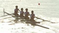 Stock Video Footage of men rowing in racing contest