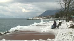 Ice Storm Effects In Lake Geneva Stock Footage
