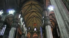 Interior of Duomo Cathedral in Milan, Italy Stock Footage