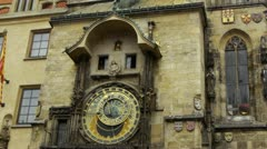 Prague Astrological Clock chiming 12 noon, Czech Republic Stock Footage