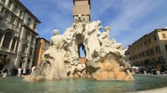 Fountain of four rivers on Piazza Navona in Rome Stock Footage