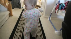Kid thowing toy downstair Stock Footage