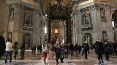 Tourists inside Basilica of St Peter's in Vatican city - stock footage