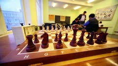 Chess starting position on board closeup Stock Footage