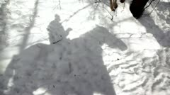 Shadow of horsman moves on snow Stock Footage