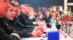 Jury sit at table near boxing ring at The Battle of Moscow 3 Stock Footage