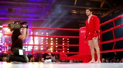 Wrestler in kimono stand in boxing ring corner at The Battle of Moscow 3 Stock Footage