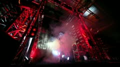 Fighter comes from metal gate with illumination at The Battle of Moscow 3 Stock Footage