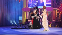 Winner of the Adult Costume Competition during the Gran Gala of the Carnival Stock Footage