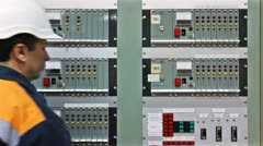 Engineer Check Gas Panel Closeup Stock Footage