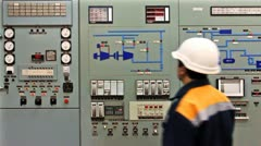 Engineer Check Main Control Panel Stock Footage