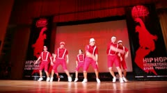 Seven boys from ABZAC CREW dance modern style on stage Stock Footage