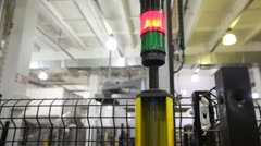 Safety light curtains, which signaling and stopping robot with appearance Stock Footage