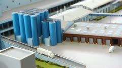 Maquette transport area of dairy factory on table Stock Footage