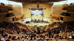 People waiting for concert in Tchaikovsky Hall of Moscow Philharmonic Stock Footage