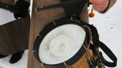 Soldier of Russian army 19th century play drums Stock Footage