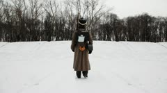 Soldier of Russian army 19th century leaves marching snowy winter field Stock Footage