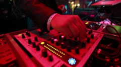 Dj llive set- hands on thr mixer Stock Footage
