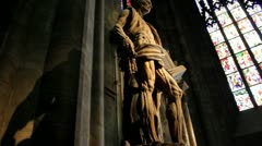 Sculpture inside the Duomo Cathedral in Milan, Italy Stock Footage