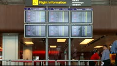 Airport Board Singapore 2 Stock Footage