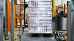 Automatic wrapper wraps stretch film bottles of yogurt on pallet Stock Footage