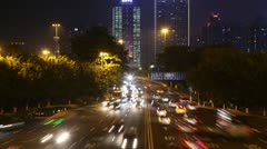 Cars go on night highway to Guangzhou Bridge - stock footage