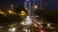 Cars go on night highway to Guangzhou Bridge Stock Footage