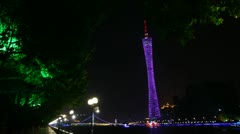People walk in Hongcheng park near Canton tower Stock Footage